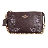Coach Large Leather Natural Refined Floral Wristlet