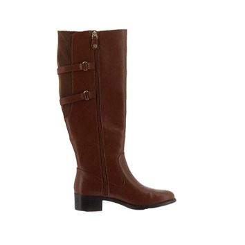 Isaac Mizrahi Live! Wide Calf Ocre Riding Boots with Straps