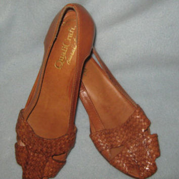 Vintage 80s Womens QualiCraft Casualets Brown Braided Leather Slip on Shoes with Wooden Platform Heels - Size 5 1/2 B