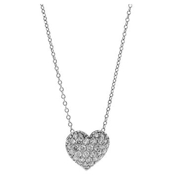 Cartier Diamond Heart Platinum Necklace