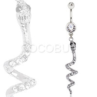 316L Surgical Steel Gemmed Snake Dangle Navel Ring