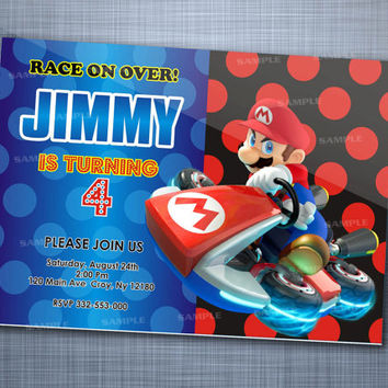 Super Mario Cars Kart Polka Dot, Birthday Party, Invitation Card Design