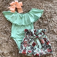 US Newborn Kid Baby Girl Clothes Ruffle Romper Floral Shorts Summer Outfits Set