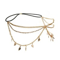 HuaYang Lady Girl Forehead Crystal Leaf Style Tassels Headband Link Chain Cuff Headpiece