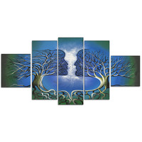 Blue Human Tree Connection Canvas Wall Art Print