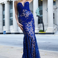 Jovani 23310 In Stock Blue Lace Prom Dress Evening Gown SALE