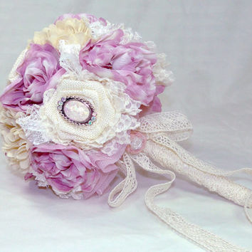 Custom Bridesmaid Bouquet Ivory Burlap and Lace with Pearls, Chiffon and Satin Flowers You Choose Colors Rustic Shabby Chic Vintage Country