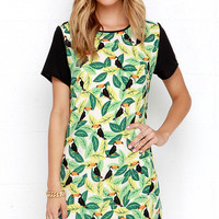 Green Bird and Leaf Printed Dress