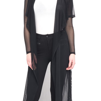 LONG MESH DUSTER WITH TIE FRONT