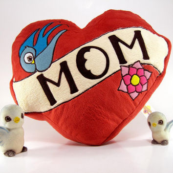 $22.00 Mom Tattoo Pillow Plush by scrumptiousdelight on Etsy