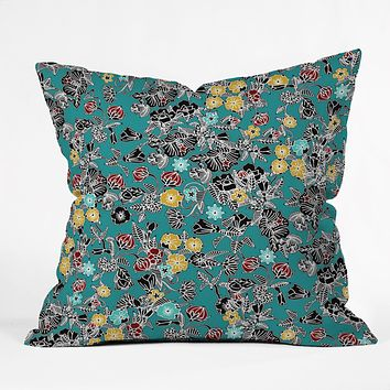 Sharon Turner Cloisonne Flowers Throw Pillow