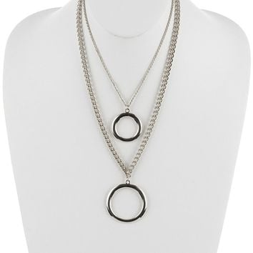 Sliver Metal Ring Pendant Double Layer Chain Necklace