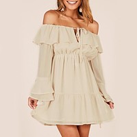 Solid Short Dress Full Long Sleeve Casual Dress Salash Neck Chiffon Casual Ruffles Dress Vestidos