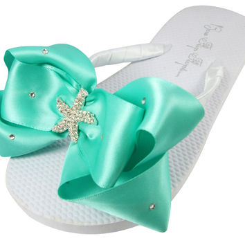 Starfish Wedding Bridal Flip Flops, Bridesmaid Flip Flops - Tropic Teal Satin Swarovski accent Bows