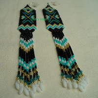 Native American Style Brick Stitched Geometric Shoulder Duster Earrings in Black,Turquoise Green,White and Gold
