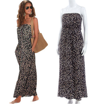 Black Strapless Print Long Beach Dress