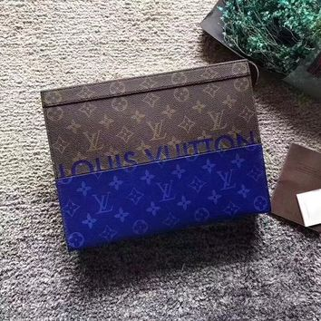 LV Louis Vuitton MEN'S MONOGRAM CANVAS ZIPPER HAND BAG