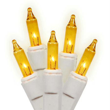 Amber Gold Mini Christmas Lights - 100 Bulbs On White Wire