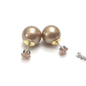 front back earrings, double pearl studs, double sided studs, gold plated, double pearl earrings, cz studs, double ball