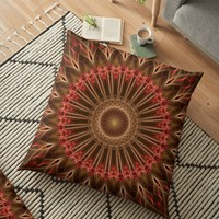 'Red and brown tones mandala' Floor Pillow by JBlaminsky