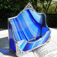Cobalt Swirl Business Card Holder