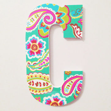 "8"" Hand Painted Wooden Letter - Vera Bradley Inspired"