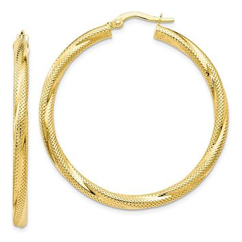 Leslies 10K Twisted Hinged Hoop Earrings