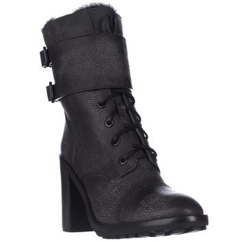 Tory Burch Broome Lace-Up Combat Boots - Irish Charcoal