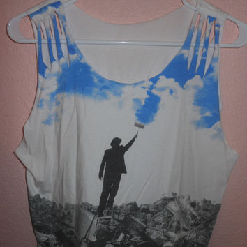 Man Painting The Sky- Graphic Crop Top