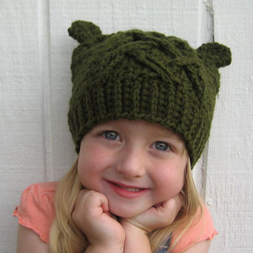 Crochet toddler hat.  Little bear hat with ears.  Made to order.  Toddler size.