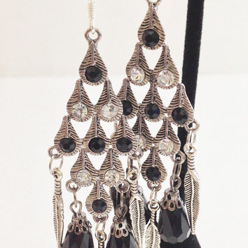 Silver and Black Feather Earrings, Black Bead, Silver Colored Feather, White Crystal, Black Crystal, Large Earrings, Classy Chandelier