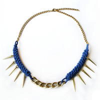 Blue statement necklace with spikes