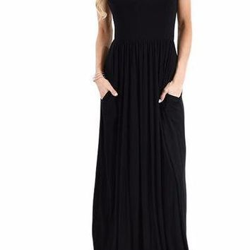 Women's Black Short Sleeve Casual Party Long Dresses Short Sleeve Ruched Waist Maxi Dress