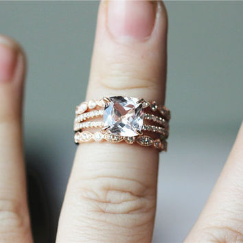 Three Rings--8x8mm Cushion Cut Halo Morganite Ring 14K Rose Gold Pave Diamonds Wedding Ring /Engagement Ring/ Promise Ring/ Anniversary Ring
