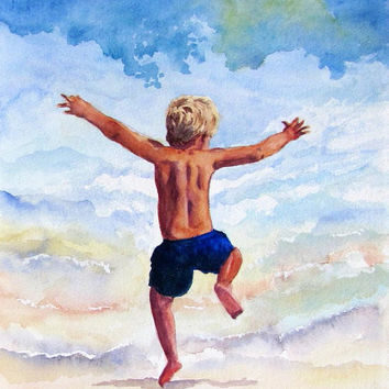 Surf Boy Art, Beach Watercolor Painting, Florida Art Print, Child Kid Art,Ocean Play Seashore Nursery Home Decor Art Gift,Barbara Rosenzweig