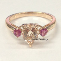 Pear Morganite Engagement Ring  Pink Tourmaline 14K Rose Gold 6x8mm
