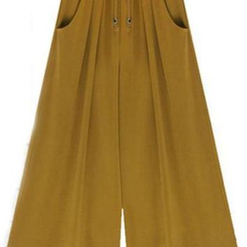 Woman  Wide Leg Pants  Loose Drawstring  Casual Ankle-Length Pockets Female Trousers Summer Hipster Harem Pants Ladies Plus Size