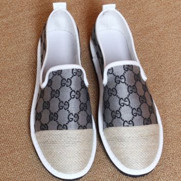 GUCCI new canvas shoes are fashionable for men and women more letter print Splice shoes Gray