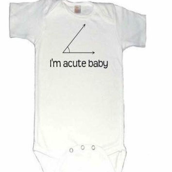 Acute baby, math Onesuit, nerd Onesuit, pun, math joke, new mom gift, geometry, teacher present, birth announcement