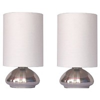 Simple Designs Gemini 2-Pack Mini Touch Lamp with Brushed Steel Base and Ivory White Fabric Shades - Walmart.com