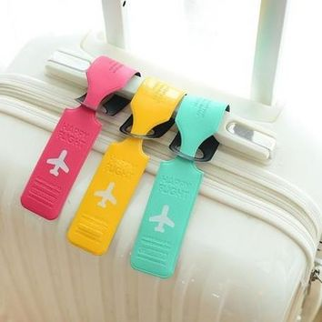 7 pcs Jelly Color Cute Striped Style Leather Suitcase Travel Luggage Name Address List Leather Tag  [7959273927]