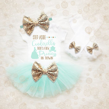 Baby Girl Clothes | Princess Shirt | Baby Girl Outfit | Girl Tutu Set | Baby Girl Gift | Girl Birthday Gift | Glitter Shirt | Mint Tutu Set