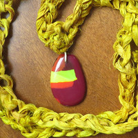 Yellow Sari Ribbon Glass Pendant Necklace by The Wild Willows