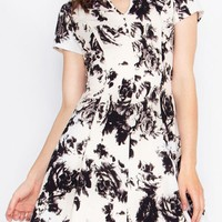 Black/White Floral Skater Dress