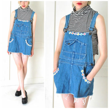 denim OVERALL dress vintage 1990s 90s grunge DAISY trim mini SHREDDED jean festival dress os