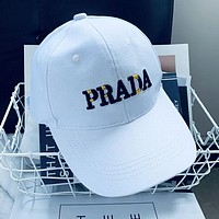 PRADA Fashion Women Men Embroidery Sports Sun Hat Baseball Cap Hat White