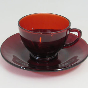 Royal Ruby Red Teacup and Saucer Set Anchor Hocking Depression Glass
