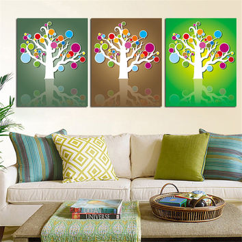 Mordern Abstract Tree Painting Wall Art Home Decor Colorful Oil Painting Poster Canvas Picture for Living Room No Frame 3 Pieces