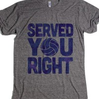 Served You Right (Blue)-Unisex Athletic Grey T-Shirt