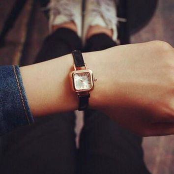 CREYONV womens retro leather small watch unique simple watches free gift necklace 474  number 1